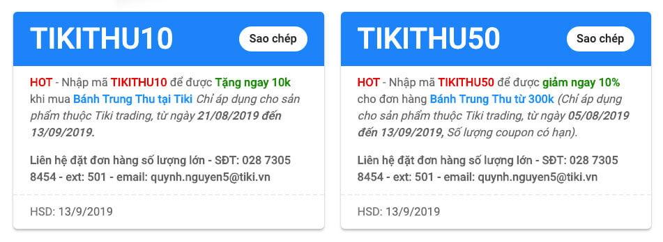Một số mã giảm giá Tiki